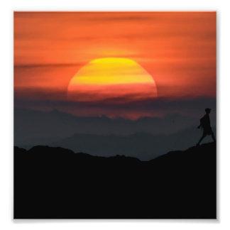 Man Walking at Mountains Landscape Illustration Photo Print