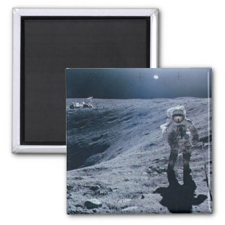 Man Walking on Moon Square Magnet