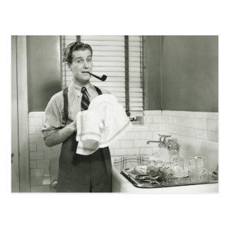 Man Washing Dishes Postcard