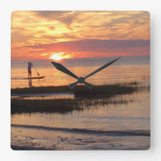Man Water Boarding at Sunset in Cape Cod Clock