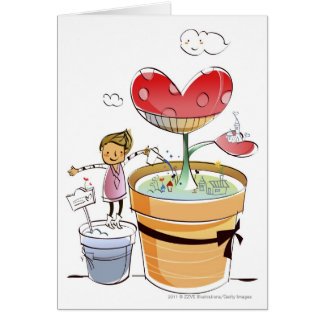 Man watering a potted plant card
