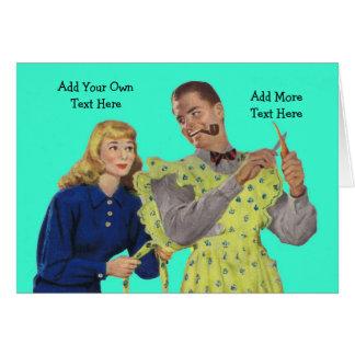 Man Wearing Apron Funny Greeting Card