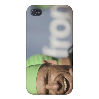 Man wearing swimming cap at starting line of Los Case For iPhone 4