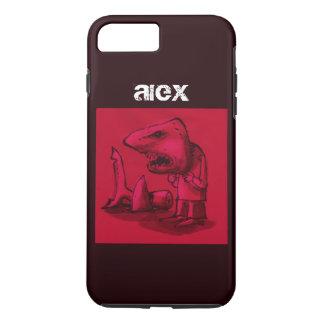 man wears shark head cartoon funny illustration iPhone 8 plus/7 plus case