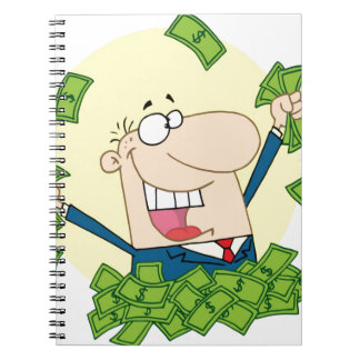 Man with a lot of money spiral note books