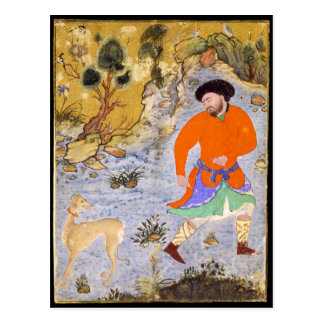 Man with a Saluki by Shaykh Muhammad in 1555 Postcard