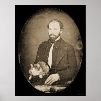 Man with Cat Daguerreotype 1854 Poster