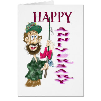 Man with fishing pole Happy Anniversary Greeting Card