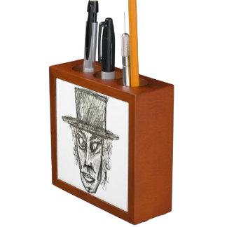 Man with Hat Head Pencil Drawing Illustration Desk Organizer