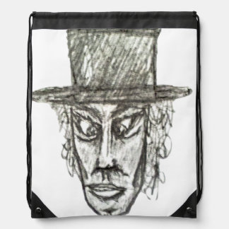 Man with Hat Head Pencil Drawing Illustration Drawstring Bag