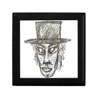 Man with Hat Head Pencil Drawing Illustration Gift Box