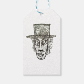 Man with Hat Head Pencil Drawing Illustration Gift Tags