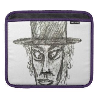 Man with Hat Head Pencil Drawing Illustration iPad Sleeve