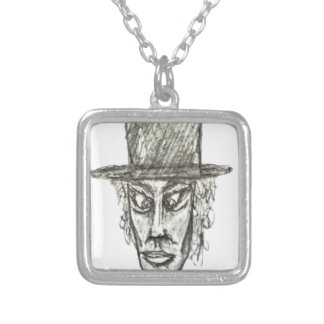 Man with Hat Head Pencil Drawing Illustration Silver Plated Necklace