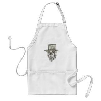 Man with Hat Head Pencil Drawing Illustration Standard Apron