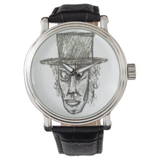 Man with Hat Head Pencil Drawing Illustration Watch