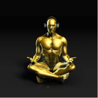 Man with Headphones Listening to Music Meditating Photo Sculpture Button