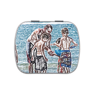 man with kids on beach sketch