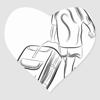 Man With Luggage Heart Sticker
