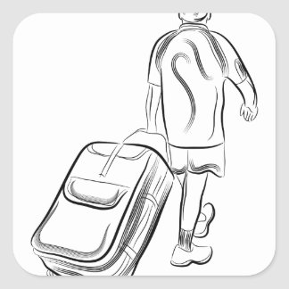 Man With Luggage Square Sticker