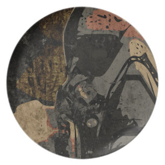 Man with protective mask on dark metal plate