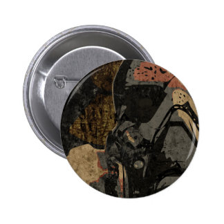 Man with protective mask on dark metal plate 2 inch round button