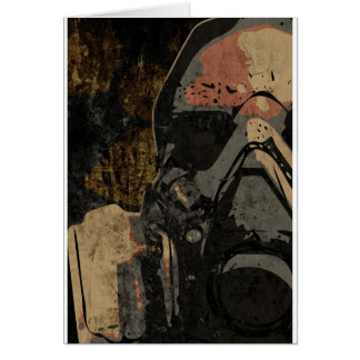 Man with protective mask on dark metal plate card
