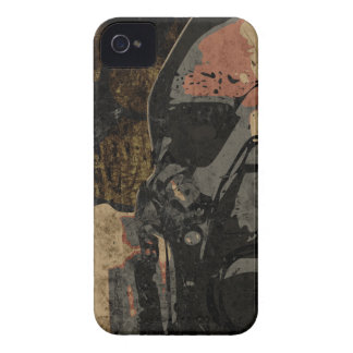 Man with protective mask on dark metal plate Case-Mate iPhone 4 cases