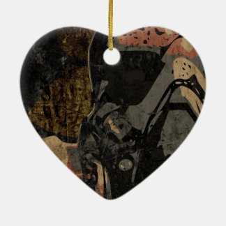 Man with protective mask on dark metal plate ceramic heart ornament
