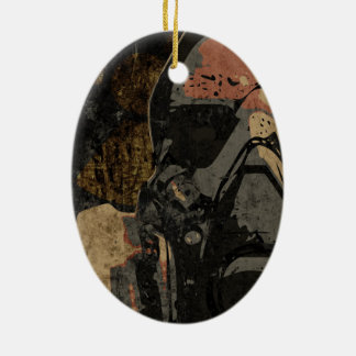 Man with protective mask on dark metal plate ceramic oval ornament