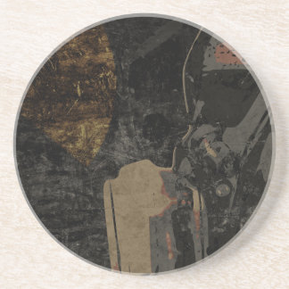 Man with protective mask on dark metal plate coaster