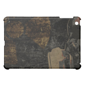 Man with protective mask on dark metal plate cover for the iPad mini