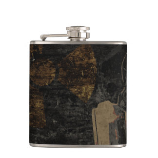 Man with protective mask on dark metal plate flasks