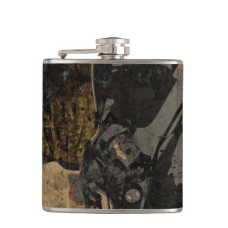 Man with protective mask on dark metal plate hip flask