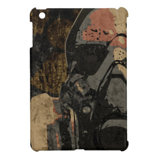 Man with protective mask on dark metal plate iPad mini case