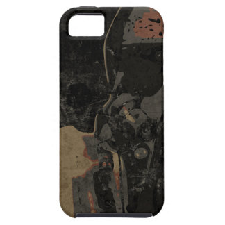 Man with protective mask on dark metal plate iPhone 5 case