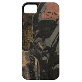 Man with protective mask on dark metal plate iPhone 5 cases