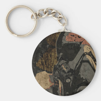 Man with protective mask on dark metal plate keychain