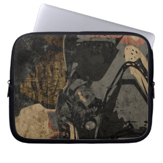 Man with protective mask on dark metal plate laptop sleeve
