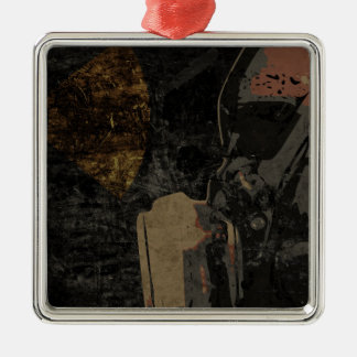 Man with protective mask on dark metal plate metal ornament