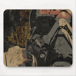 Man with protective mask on dark metal plate mouse pad