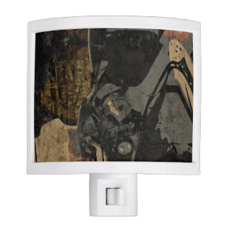 Man with protective mask on dark metal plate night lights