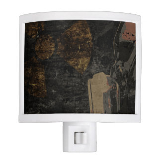 Man with protective mask on dark metal plate nite light
