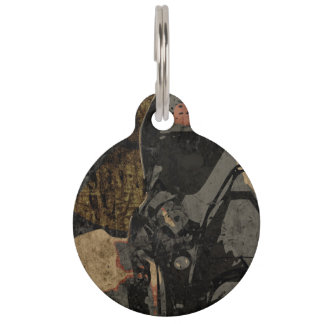Man with protective mask on dark metal plate pet ID tag