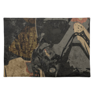 Man with protective mask on dark metal plate placemat