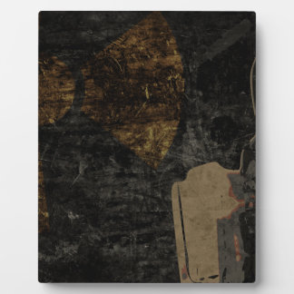 Man with protective mask on dark metal plate plaque