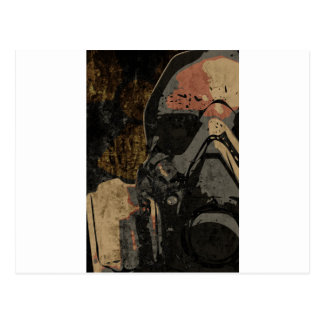 Man with protective mask on dark metal plate postcard