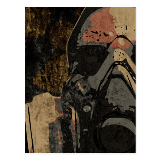 Man with protective mask on dark metal plate postcard