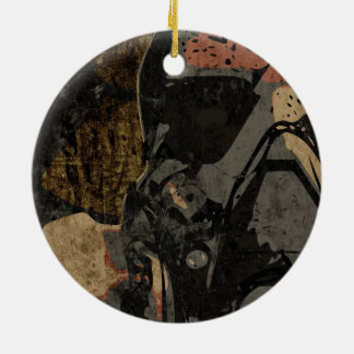 Man with protective mask on dark metal plate round ceramic ornament