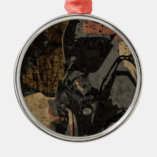 Man with protective mask on dark metal plate Silver-Colored round ornament